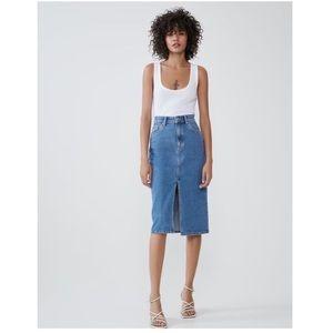 ZARA High Rise Slit Front Denim Pencil Midi Skirt
